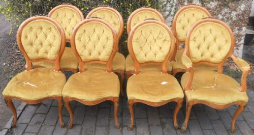 Set of Eight Walnut Oval Back Dining Chairs for Re-upholstery